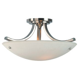 Gravity Semi Brushed Steel 3-light Semi Flush Fixture