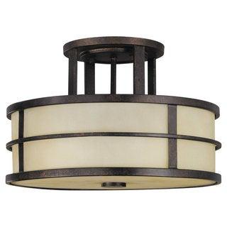 Fusion Semi Grecian Bronze 3-light Semi Flush Fixture