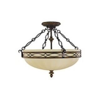Drawg Room 18 .25-inch Semi Walnut 3-light Semi Flush Fixture