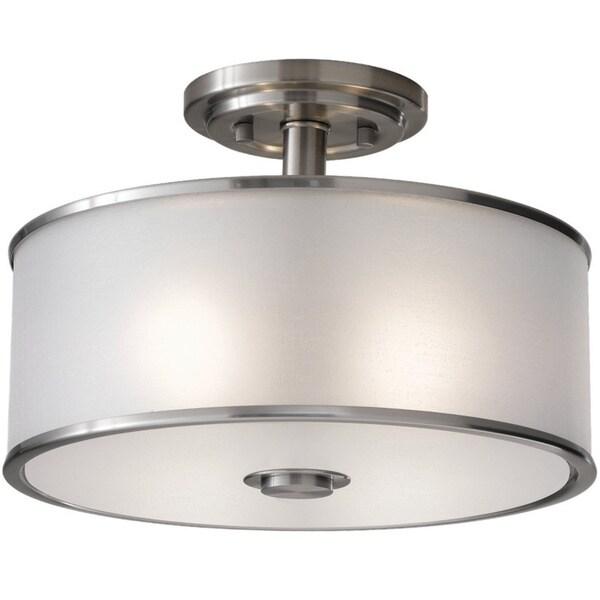 2-light Brushed Steel Casual Luxury Semi Flush Mount Fixture