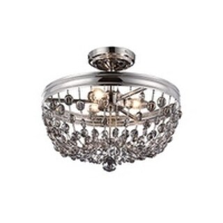 Malia Semi Polished Nickel 3-light Semi Flush Fixture
