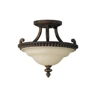 Drawg Room 11 .5-inch Semi Walnut 2-light Semi Flush Fixture