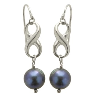 Pearls For You Sterling Silver Black Freshwater Pearl Infinity Dangle Earrings (8.5-9 mm)