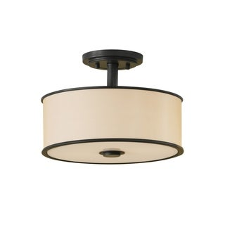 Casual Luxury Semi Dark Bronze 2-light Semi Flush Fixture