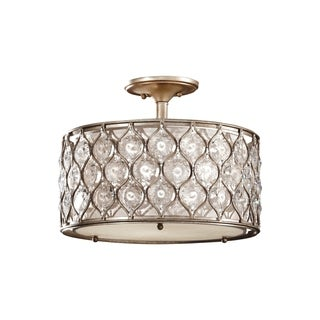 Lucia Semi Burnished Silver 3-light Semi Flush Fixture