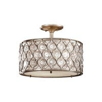 Feiss Lucia 3 - Light Indoor Semi-Flush Mount, Burnished Silver