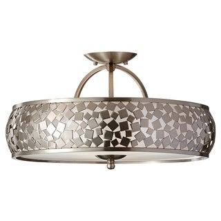 Zara Semi Brushed Steel 3-light Semi Flush Fixture