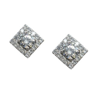 Michael Valitutti Square Cubic Zirconia Stud Earrings