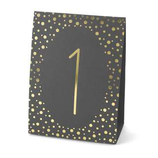Polka Dot Table Number Tents- Gold