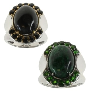 Michael Valitutti Men's Maw Sit Sit Chrome Diopside or Black Spinel Black Diopside Ring (Option: Green)