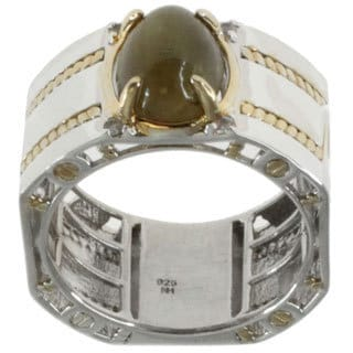 Michael Valitutti Gold Over Silver Men's Cat's Eye Ring
