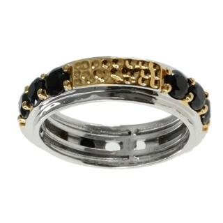 Michael Valitutti Men's Palladium Silver Black Spinel Ring