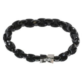 Michael Valitutti Black Agate Blue Sapphire Accent Bracelet