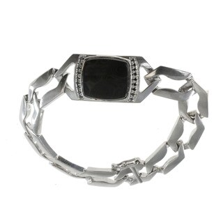 Michael Valitutti Sterling Silver Psilomelane Black Diamond Accents Bracelet