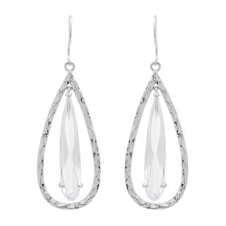 Sterling Silver Cubic Zirconia Hammered Teardrop Earrings