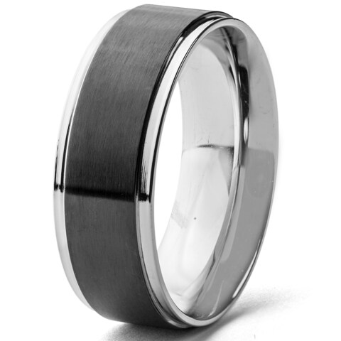 Men's Stainless Steel Blackplated Brushed Center Wedding Band Ring (8 mm)
