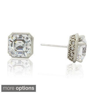 Gioelli 14k Gold 6 1/8ct TGW Asscher-cut Cubic Zirconia Stud Earrings