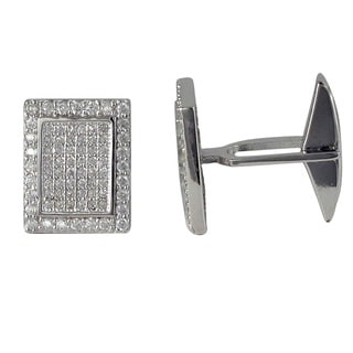 Luxiro Sterling Silver Men's Micro-pave Cubic Zirconia Modern Rectangle Cufflinks