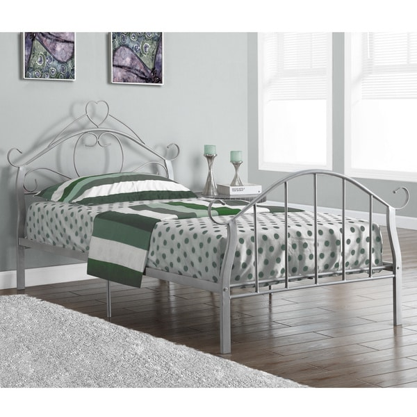 shop silver metal twin size bed frame free shipping today overstock 9675329. Black Bedroom Furniture Sets. Home Design Ideas