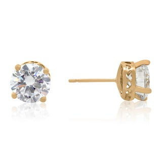 Gioelli 14k Gold Round Cubic Zirconia Heart Cutout Stud Earrings