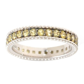 Sterling Silver Yellow Sapphire Eternity Band Ring
