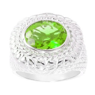 Sterling Silver Oval Peridot Wide Texture Ring