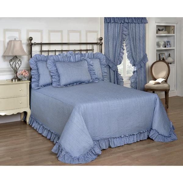 Plisse Blue Gingham Check Bedspread