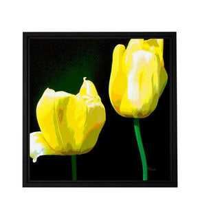 ArtWall Herb Dickinson 'Yellow Tulips' Floater Framed Gallery-wrapped Canvas