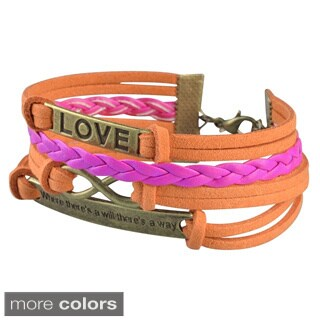 Zodaca Colorful Fashion Multistring Leather Bracelet Assessory With Silver/ Bronze Alloy Love Charms (More options available)