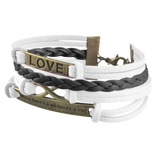 Zodaca Colorful Fashion Multistring Leather Bracelet Assessory With Silver/ Bronze Alloy Love Charms (Option: White/ Black Love)