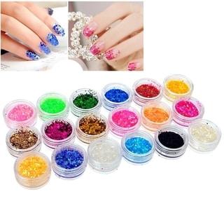Zodaca 18-Color Classy Nail Art Idea Design DIY Tiny Hexagon Glitter Set