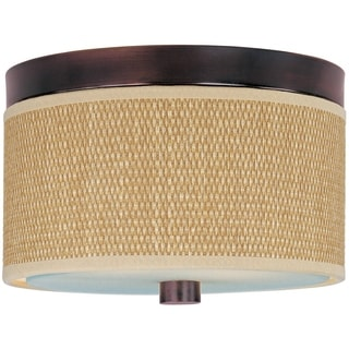 Elements Bronze/ Glass Cloth 2-light Flush Mount
