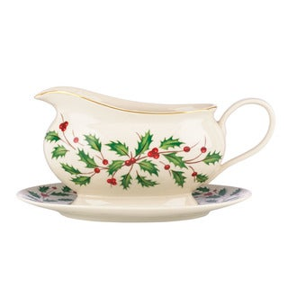 Lenox Holiday Gravy Boat and Stand