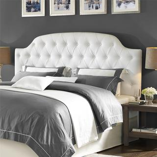 Lyric White Button Tufted Faux Leather King Headboard