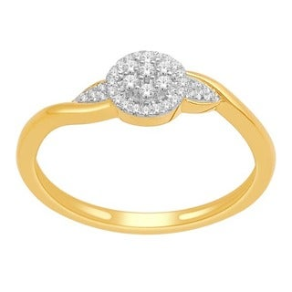 De Couer 10k Yellow Gold 1/8ct TDW Diamond Fashion Ring (H-I, I1-I2)