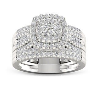 De Couer 10k White Gold 1ct TDW Diamond Bridal Set Ring