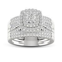 De Couer 10k White Gold 1ct TDW Diamond Bridal Set Ring