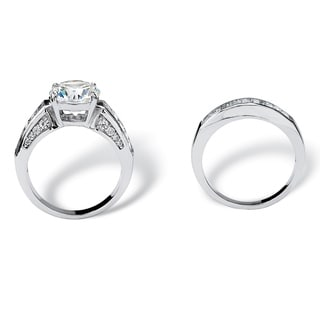6.40 TCW Round Cubic Zirconia Bridal Set in Platinum Over .925 Sterling Silver Glam CZ