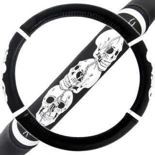 BDK Skull Head Steering Wheel Cover 15-inch Universal Fit