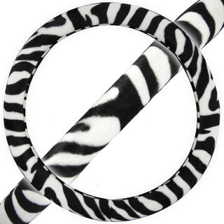BDK Original Animal Print Zebra Steering Wheel Cover 15-inch Universal Fit / (5 options available)