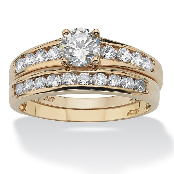 10K Yellow Gold Cubic Zirconia Channel Bridal Ring Set - White