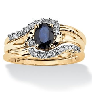 PalmBeach 3 Piece Oval-Cut Midnight Sapphire Bridal Ring Set in 18k Gold over Sterling Silver