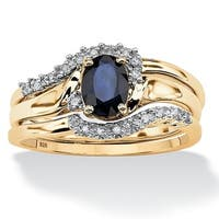 3 Piece Oval-Cut Midnight Sapphire Bridal Ring Set in 18k Gold over Sterling Silver