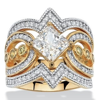 PalmBeach 3 Piece 2.19 TCW Princess-Cut Cubic Zirconia Bridal Ring Set in 14k Gold over Sterling Silver Glam CZ