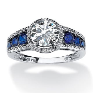 2.31 TCW Round Cubic Zirconia and Sapphire Halo Ring in Platinum over Sterling Silver Clas