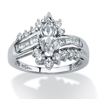 1.65 TCW Marquise-Cut Cubic Zirconia Ring in Platinum over Sterling Silver Classic CZ