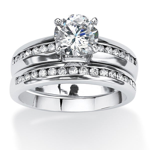 2 Piece 1.90 TCW Round Cubic Zirconia Bridal Ring Set in 10k White Gold Classic CZ
