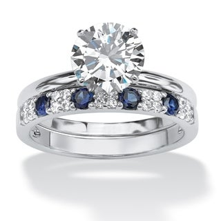 PalmBeach 2.58 TCW Round Cubic Zirconia and Sapphire Bridal Set in Platinum over .925 Sterling Silver Classic CZ