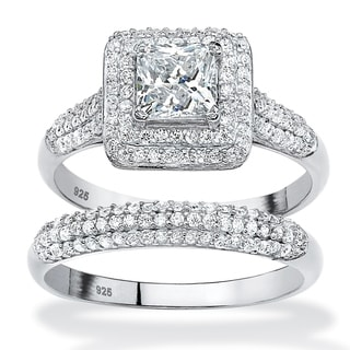 PalmBeach 2 Piece 1.47 TCW Princess-Cut Cubic Zirconia Halo Bridal Ring Set in Platinum over Sterling Silver Classic CZ