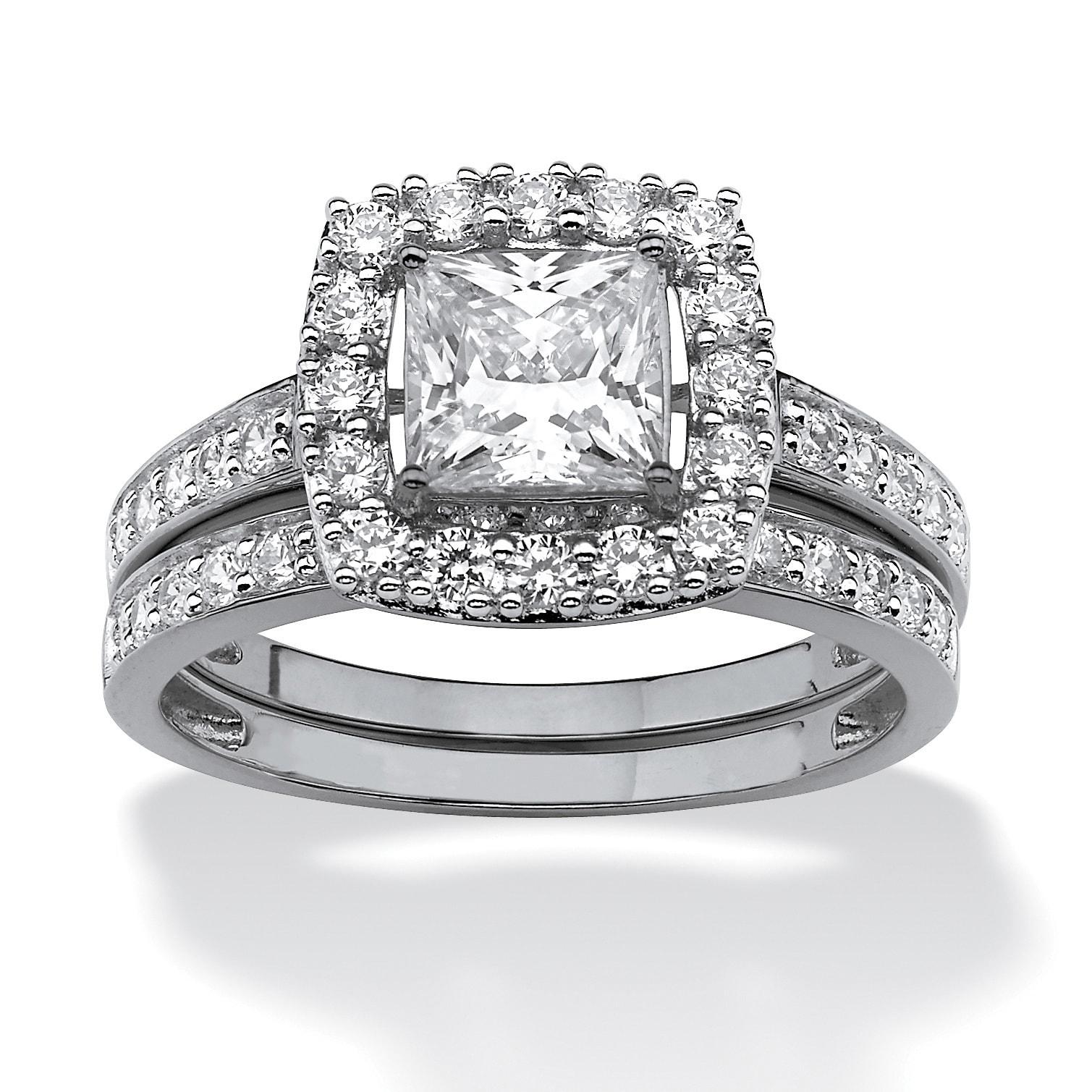 10k White Gold Cubic Zirconia Halo Bridal Ring Set